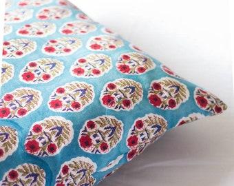 Block print decorative pillow - Throw pillow covers - Floral cushions - block print fabric - Coastal Summer decor -Living room decor - 16x16