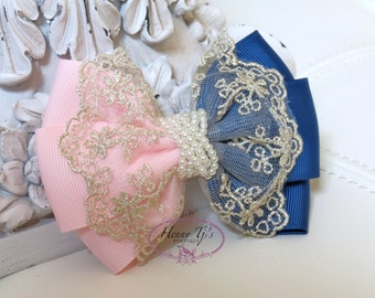 NEW: Ella Grace Collection - Two Tones Light Pink / Dark Blue Ribbon and Lace Hair Bow knot Applique. Hair accessories. Fabric pearl bow.