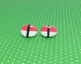 Tuna Sushi Clay Sterling Silver Post Earrings