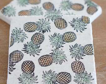 Marble Pineapple Coasters //Marble Coaster/ Drink Coaster// Birthday Gift // Housewarming Gift// Hostess gift// Tile Coaster Stone coaster