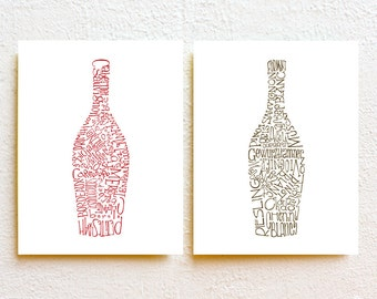 Set of 2 Wine Bottle Kitchen Art Print, Typography Illustration Red and White Wine Wall Decor, wine gift for wine lover minimalist art print