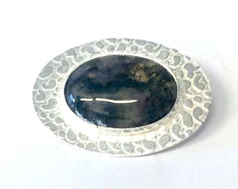 Moss Agate Etched Brooch