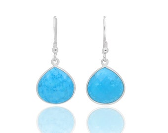 turquoise earrings, blue earrings, sterling silver earrings, gemstone earrings, turquoise jewelry, gift for her, turquoise drops, birthstone
