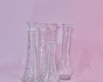 SALE Five Glass Bud Vases, Vintage Clear Glass Bud Vases,