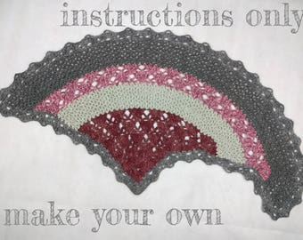 INSTRUCTIONS ONLY - Crochet your own Shark Fin Shawlette asymmetric shawl with openwork lace detail
