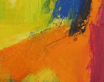 Early Fall Original Abstract Painting 10 x 8 brilliant color, cobalt, orange, fuschia