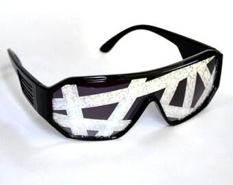 Rasslor Crazy Lines Black Shield Sunglasses