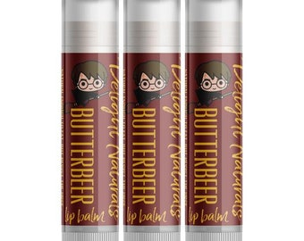 3 Harry Potter Butterbeer Lip Balms - Set of Three - Natural Chapstick - Butter beer Flavored - Beeswax and Coconut Oil - Delight Naturals