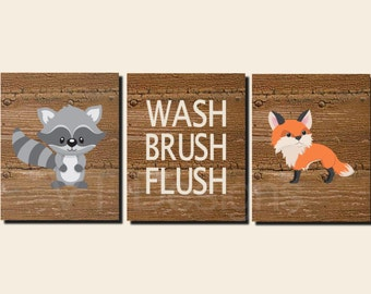 Kids Bathroom Art, Woodland Animals, Boy Bathroom. Rustic Bathroom Art, Wash, Brush, Flush, Fox, Hedgehog, Raccoon, Canvas Option  Set of 3