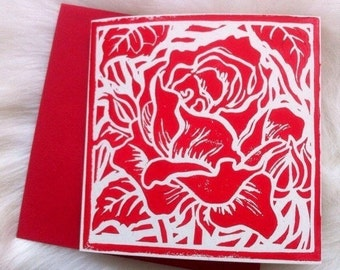 Rose Linocut Hand Printed on Recycled Card