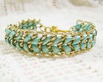Woven gold chain bracelet - light turquoise ribbon thread