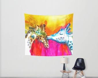 Giraffe Wall Art Giraffe Decor Kids Room Tapestry Dorm room tapestry Giraffe Wall Deco Gift for teen Gifts for tween Girls bedroom decor