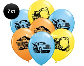 """Construction Trucks Balloons [7ct] 11"""" Latex Digger Birthday Party Supplies Decoration Photo Props Centerpiece Supply"""