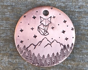 Pet ID Tag, Dog Tag, Dog Tags for Dogs, Dog Tags, Vulpecula, Little Fox, Constellation, Stars, Mountain, Trees, Dog ID Tag, Pet Tag