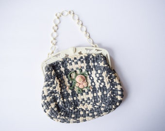 1930s Purse   Pink Rosette   Vintage 30s Charcoal Gray and Ivory Woven Handbag Celluloid Floral Hinge and Chain Handle Rose Center
