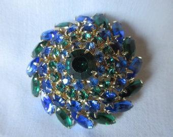 Vintage Blue and Green Rhinestone Domed Pinwheel Brooch, Round and Navette Cut Rhinestone Brooch