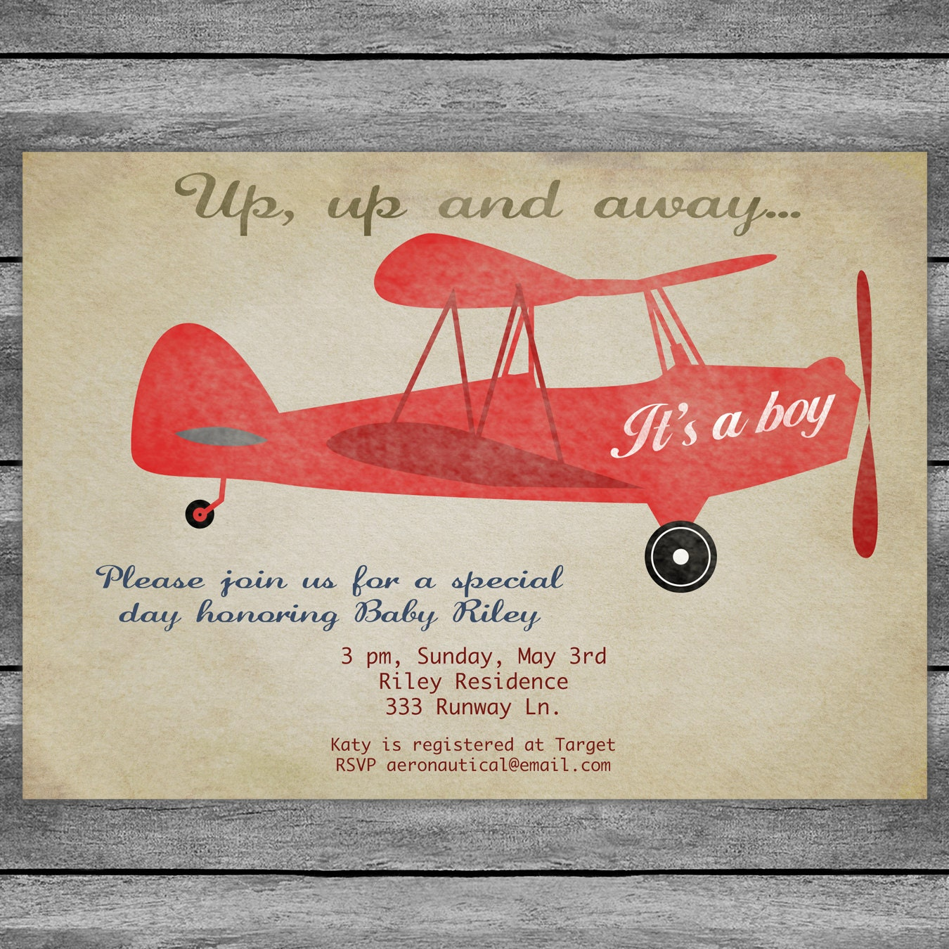 Airplane Baby Shower Invitation Card Vintage Birthday Red Or