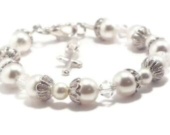 Baby Bracelet, Baby Jewelry, Baby Pearl Bracelet, Flower Girl, Christening Bracelet, Baptism Bracelet, First Communion, Easter Bracelet (B7)