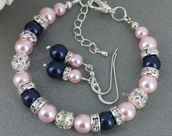Swarovski Bracelet and Earrings Bridesmaid Gift Navy and Pink Bracelet Bridal Party Gift Blush Pearl Jewelry Blush Wedding 2018
