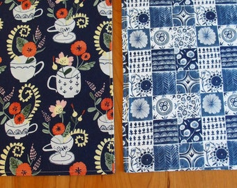 Navy Blue Placemats with Tea Cups and Flowers, Blue Delft, Table Mats, Placemats Blue, Reversible Cotton, Rae Ritchie Dear Stella Tea Party
