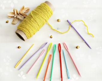 Large Plastic Needles - 9cm & 7cm - Large Eye Yarn Needles - Needles for Kids - Colorful Plastic Needles - Yarn Needles - Large Eye Needles