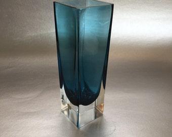 """7"""" Vintage Cobalt Blue Swedish Crystal Vase Sweden"""