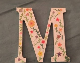 Floral Painted Wooden Letter