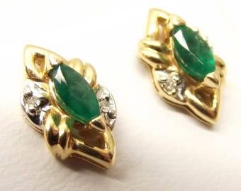 Vintage 14K Yellow Gold Natural Genuine Green Marquise Emerald & Diamond Stud Pierced Earrings
