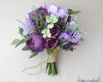Wildflower bouquet lavender bouquet wedding bouquet bridal wedding flowers purple bouquet wedding bouquet bridal bouquet silk wedding bouquet junglespirit Image collections