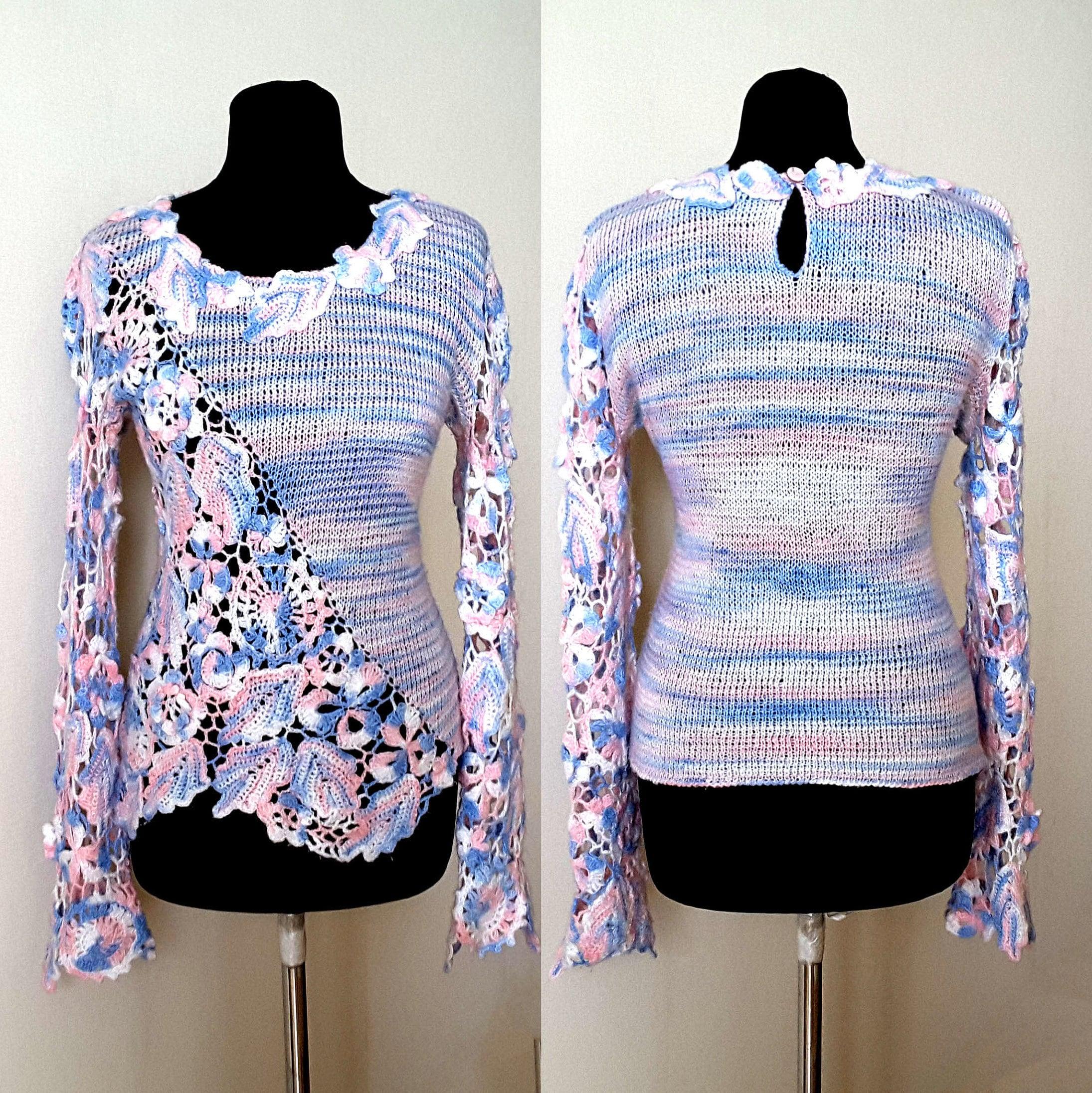 irish crochet pattern,detailed tutorial,crochet sweater pattern ...