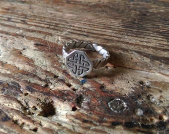 Viking seal ring silver Celtic knot medieval