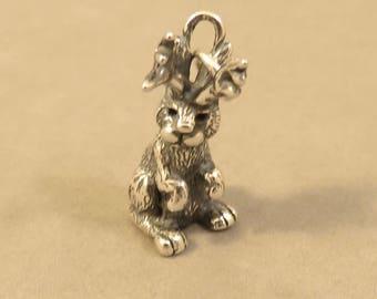 JACKALOPE .925 Sterling Silver 3-D Charm Pendant Animal Mystical Mythical Fantasy Jack Rabbit Antelope Horns Bunny Antlers New an116