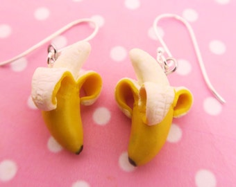 Peeled banana earrings - Fruit Jewelry - Fruit earrings - Miniature Food Jewelry, kawaii banana earrings