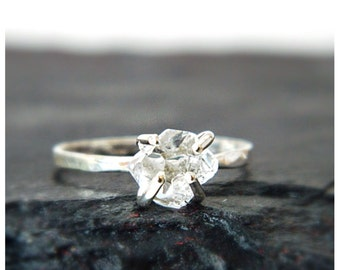 Silver Engagement Ring, Silver Ring, Diamond Engagement Ring, Herkimer Ring, Engagement Ring, Wedding Bands, Solitaire Ring