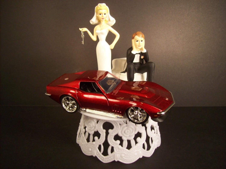 Got the key Funny Wedding CAKE TOPPER w/ Red 1969 Corvette