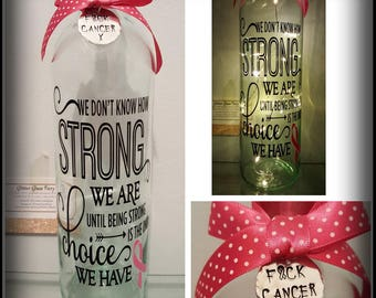 Cancer Survivor / Sufferer /  Tribute LED Light Bottle Keepsake Gift / Support / Awareness