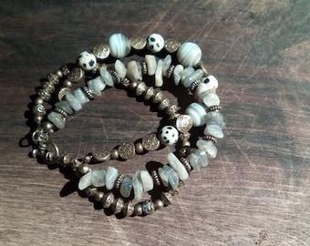 Bracelet triple row stones semi precious and bronze
