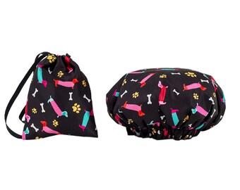 Dogs Waterproof Shower Cap Matching Bag Bathroom Toiletries Set Kids Teenagers