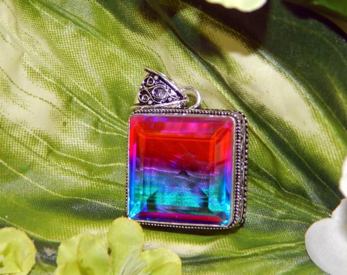 Graceful Seraphim Angel inspired vessel - Handcrafted Bicolor Quartz pendant necklace