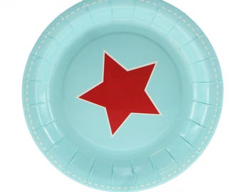 Plates | Blue with Red Star Cake Plates 7\  | Boy Birthday | 12 Paper  sc 1 st  Etsy & Retro paper plates | Etsy