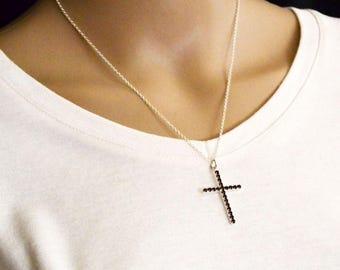 Large Cross Necklace, Silver Cross Pendant, Large Cross Jewelry, Amethyst Cross Pendant, Easter Cross