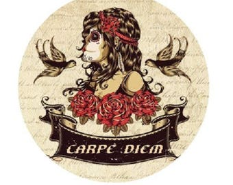 "pretty cabochon ""carpe diem"", woman, 25mm"
