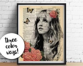 Stevie Nicks-Druck, GYPSY Rosen Fleetwood Mac ORIGINAL-Kunst, Wörterbuch Kunstdruck Poster, Boho-Haus Wohnheim Dekor Hochzeitsgeschenke