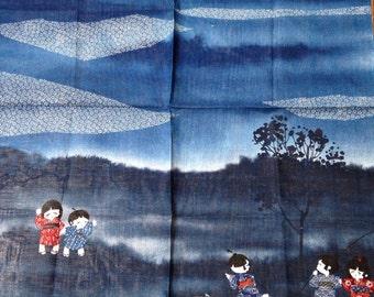"Japanese scarf, vintage scarf, 20""x21"""