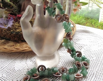 Eyeglass or Badge Lanyard in Aventurine Chips, MoP Rounds and Rosewood Saucers