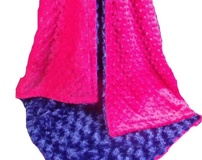 Pink and  Navy Blue Rose Swirl Baby Blanket, Fuchsia Navy Blanket, , available in three sizes