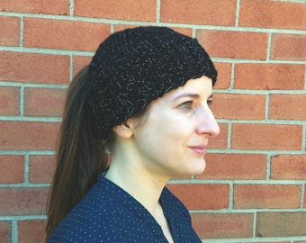 Reflective Black Ponytail Hat with Celtic Knot buttons