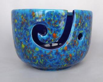 Yarn Bowl, Crochet bowl, knitting bowl, yarn bowl pottery, Ceramic, Yarn Holder, Textile Arts, Bowl, Blue, Yellow, Orange, OOAK