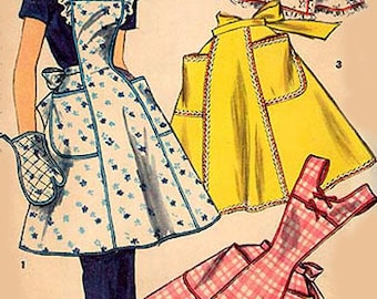 Original 1955 Rockin Donna Reed Simplicity Apron Pattern 1358,  Misses Size 12-14 UNCUT & complete Instructions Included
