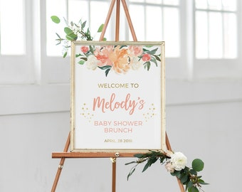 Peach baby shower sign Personalised, PRINTABLE Floral Baby shower welcome sign, Blush gold Hens party sign, Bridal shower Bachelorette party